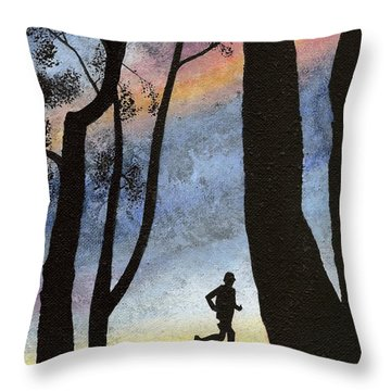 Throw Pillow featuring the painting Early Morning Run by Mary Scott