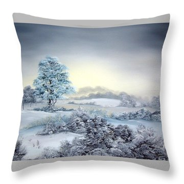 Early Morning Snows Throw Pillow
