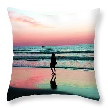 Early Morning Stroll Throw Pillow by Dan Stone