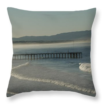 Early Morning Surf Pismo Beach Throw Pillow