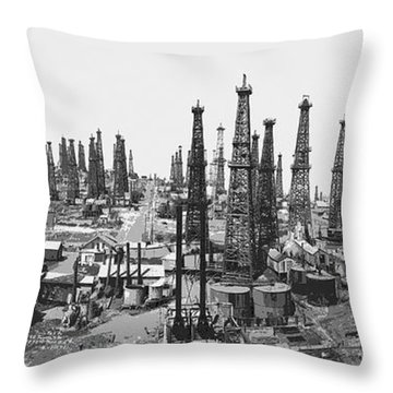Early Oil Field Throw Pillow