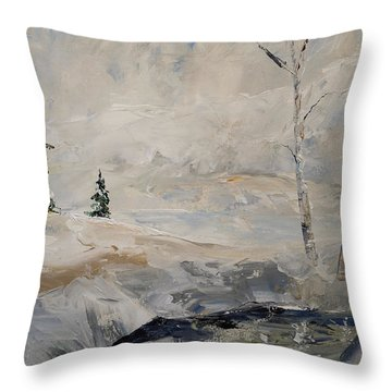 Throw Pillow featuring the painting Early Snow by Alan Lakin