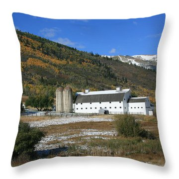 Early Snow At The Farm Throw Pillow