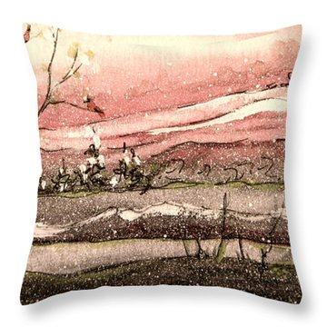 Early Spring Church Snow Throw Pillow by Gretchen Allen