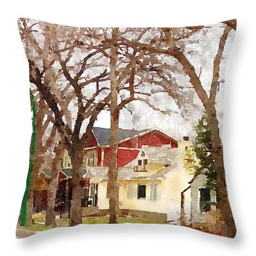 Early Spring Street Throw Pillow