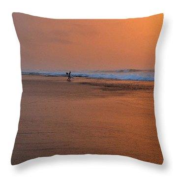 Dawn Sea Man Harmony Throw Pillow