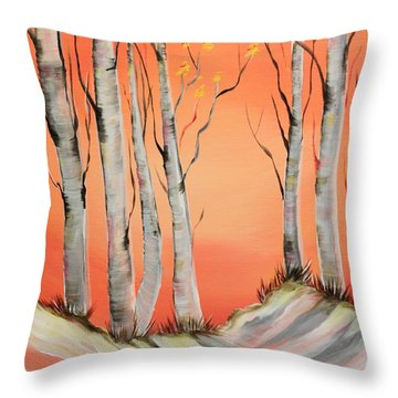 Throw Pillow featuring the painting Early Winter Aspen by Janice Rae Pariza