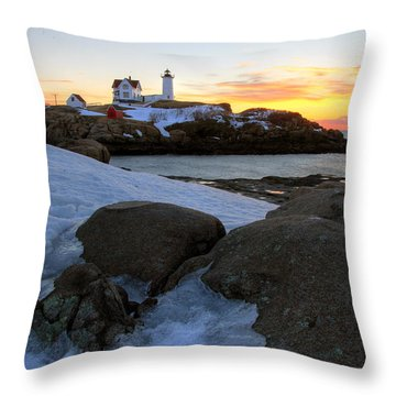 Early Winter Morning At Cape Neddick Lighthouse Throw Pillow by Brett Pelletier