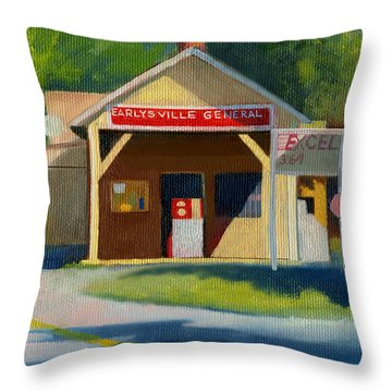 Earlysville Virginia Old Service Station Nostalgia Throw Pillow by Catherine Twomey