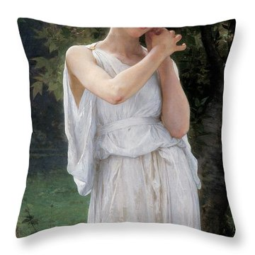 Earrings Throw Pillow by William Adolphe Bouguereau