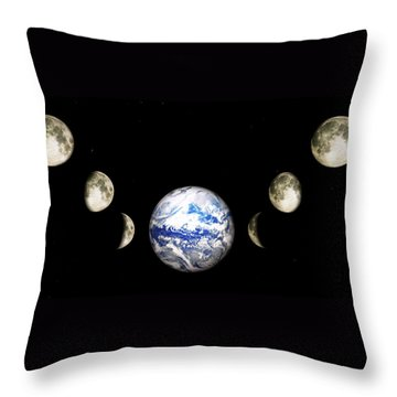 Throw Pillow featuring the digital art Earth And Phases Of The Moon by Bob Orsillo