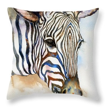 Earth And Sky_zebra Portrait Throw Pillow