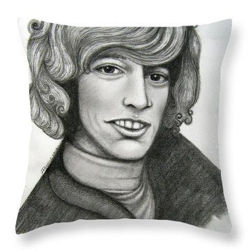 Throw Pillow featuring the drawing Robin Gibb by Patrice Torrillo