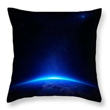 Earth At Night With City Lights Throw Pillow