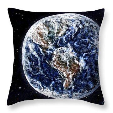Earth Beauty Original Acrylic Painting Throw Pillow by Georgeta Blanaru