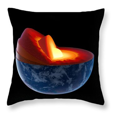 Earth Core Structure - Isolated Throw Pillow