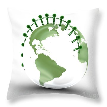 Earth Globe And Conceptual People Together Throw Pillow by Michal Bednarek