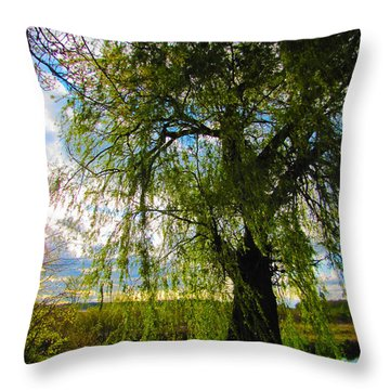 Earth Green Not Avatar Blue Throw Pillow