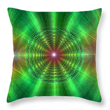 Throw Pillow featuring the drawing Earth Grid Six by Derek Gedney