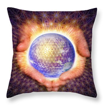 Earth Healing Throw Pillow by Robby Donaghey