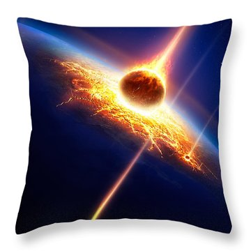 Earth In A  Meteor Shower Throw Pillow