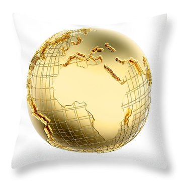 Earth In Gold Metal Isolated - Africa Throw Pillow