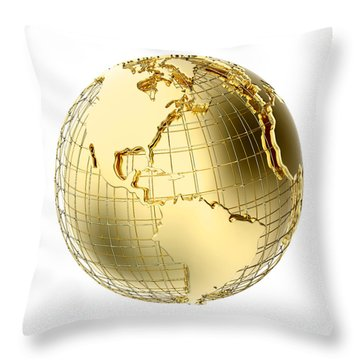 Earth In Gold Metal Isolated On White Throw Pillow