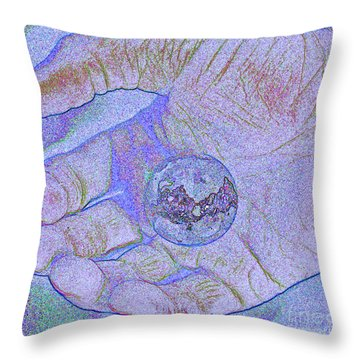 Earth In Hand Throw Pillow by First Star Art