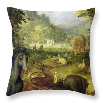 Earth, Or The Earthly Paradise, Detail Of Animals Throw Pillow