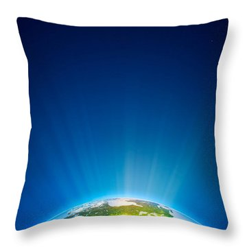 Earth Radiant Light Series - North America Throw Pillow