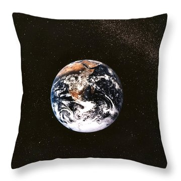 Earth Seen From Apollo 17 Africa And Antarctica Visible Throw Pillow by Anonymous