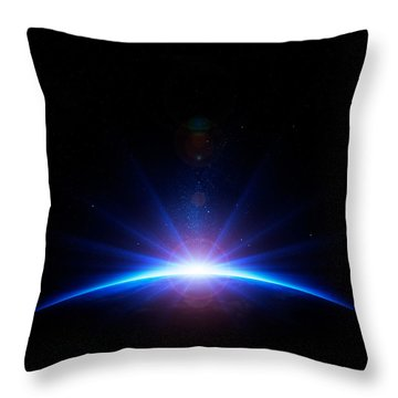 Earth Sunrise Throw Pillow by Johan Swanepoel