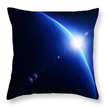 Earth Sunrise With Moon In Space Throw Pillow