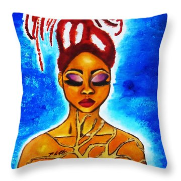 Throw Pillow featuring the painting Earth by Tarra Louis-Charles