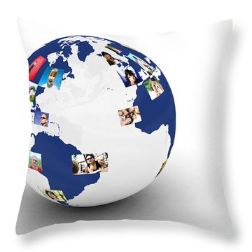 Earth With People Photos In Network Throw Pillow by Michal Bednarek