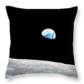 Throw Pillow featuring the photograph Earthrise Nasa by Rose Santuci-Sofranko