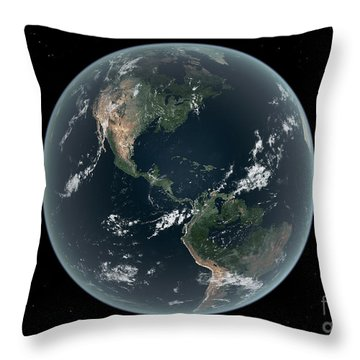 Earths Western Hemisphere With Rise Throw Pillow by Walter Myers