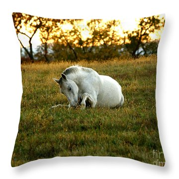 Easier Lying Down Throw Pillow by Carol Lynn Coronios
