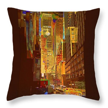 East 45th Street - New York City Throw Pillow by Miriam Danar