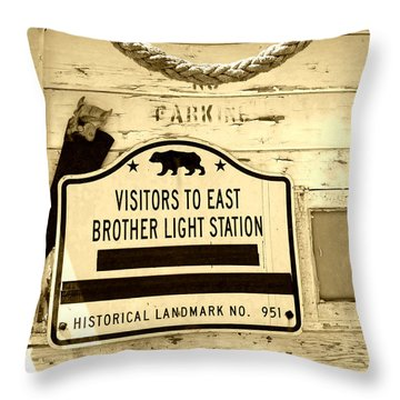 East Brother Light Station Visitor Sign Throw Pillow