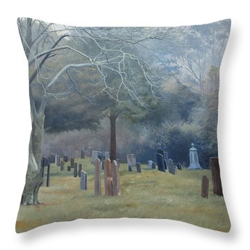 East End Cemetery Amagansett Throw Pillow by Barbara Barber