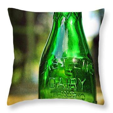 East End Dairy Green Milk Bottle Throw Pillow