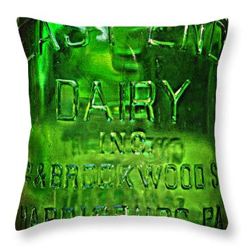 East End Dairy Green Milk Bottle Throw Pillow