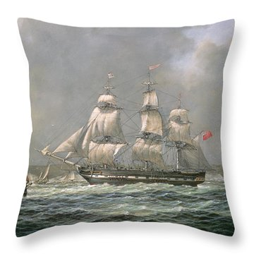 East Indiaman Hcs Thomas Coutts Off The Needles     Isle Of Wight Throw Pillow by Richard Willis
