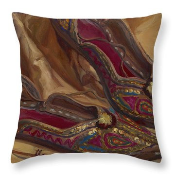 East Indian Shoes Throw Pillow
