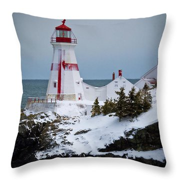 East Quoddy Head Lighthouse Throw Pillow by Alana Ranney