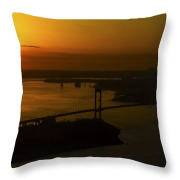 East River Sunrise Throw Pillow by Greg Reed