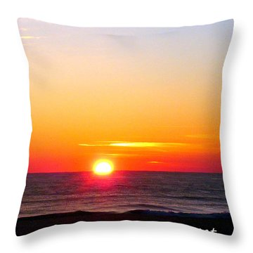 East. Sleep. Beach Sunrise Throw Pillow