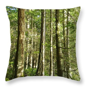 East Sooke Park Trail Throw Pillow