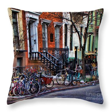 East Village Bicycles Throw Pillow